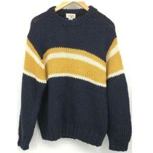 J Crew Womens Hand Knit Wool Sweater Stripe Medium